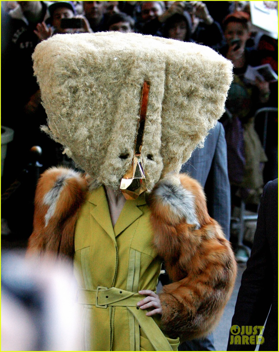 Lady Gaga Leaves Her Hotel Wearing A Furry Head Piece