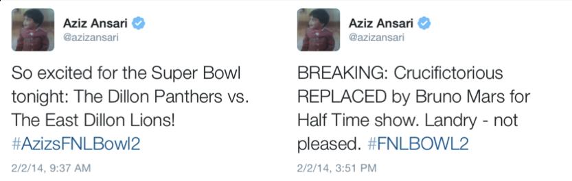 Aziz-SuperBowlTweeting